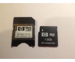 Biete Hewlett Packard Mini SD Adapter incl. 1 GB  Mini SD Card PN 393718-001 SPS 392547-001