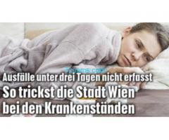 So trickst die Stadt Wien bei den Krankenständen; Ausfälle unter drei Tagen werden nicht erfasst!